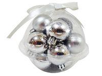 Набор шаров 12X30mm, 3 дизайна, с лентой, серебряных