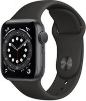 Apple Watch Series 6 44mm Space Gray Aluminum Case with Black Sport Band, M00H3