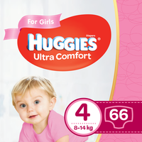 Подгузники для девочек Huggies Ultra Comf 4 (8-14 kg), 66 шт.