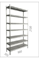 купить Стеллаж металлический с металлической плитой -900x305x 2130 мм, 7 полок/MB в Кишинёве