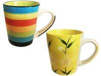 Чашка керамическая D8.5, H9.5cm, полоски (гол)/цветы