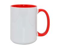 Кружка для сублимации белая, красная внутри и с красной ручкой 15oz