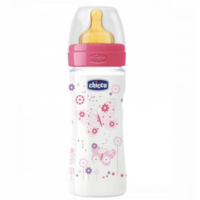 Chicco Biberon tetină latex Well Being Girl, 250ml