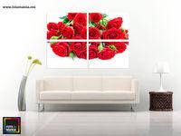 Картина напечатанная на холсте - Триптих красные розы 0002
