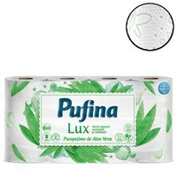 Бумага туалетная PUFINA Lux Delicat 3-сл, 8+2 рул, белая