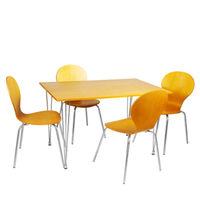 Комплект из стола и  четырёх стульев из дерева, металл и MDF, 1200x750xH740 мм,  коричневый