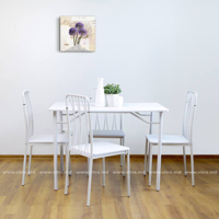 cumpără Set masă cu 4 scaune din metal și MDF, 1100x700x H760 mm, alb în Chișinău