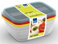 купить Набор емкостей пищевых Vedo 3шт, 1l, 19.5X14X6cm, разн цвет в Кишинёве