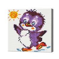 Веселый пингвинчик, 20x20 см, алмазная мозаика