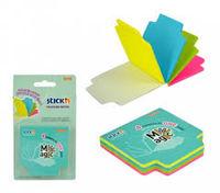 Блок для заметок STICK`N 70x70, 100 листов, 4 цвета, неон, с индекс разделителем