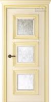 Дверь ПАЛАЦЦО 3 слоновая кость патина золото остекленная