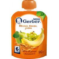 Gerber пюре яблоко, Банан и злаки, 90гр