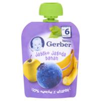 Gerber пюре яблоко черника и банан, 6 мес, 90 гр
