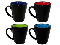 Чашка керамическая черная, внутри разных цветов 350ml
