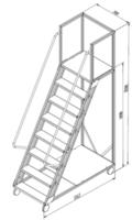 купить Лестница платформа Gama Cirrus 1898x1512x700 мм,  7+1 ступений. в Кишинёве