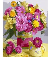 Pictura pe numere 40x50 Buchet de flori galben-roz VA1942