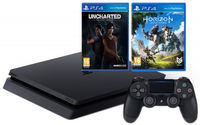 Game Console  Sony PlayStation 4 Slim 1TB Black, 1 x Gamepad (Dualshock 4) + CD Horizon Zero Dawn + Uncharted