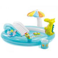 Intex Детский надувной центр бассейн с горкой Крокодил