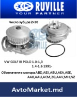 Водяной насос ПОМПА VW GOLF III POLO 1985-1994 Z=30