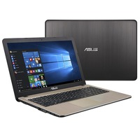 """NB ASUS 15.6"""" X540NA Black (Pentium N4200 4Gb 500Gb) 15.6"""" HD (1366x768) Non-glare, Intel Pentium N4200 (4x Core, 1.1GHz - 2.5GHz, 2Mb), 4Gb (Onboard) PC3-12800, 500Gb 5400rpm, Intel HD Graphics, HDMI, No ODD, 802.11n, Bluetooth, 1x USB 3.0, 2x USB 2.0, Card Reader, Webcam, Endless OS, 3-cell 33 WHrs Li-Ion Battery, 2.0kg, Chocolate Black"""