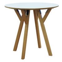cumpără Masă rotundă din lemn cu picioare din lemn şi suport din metal 870x1650x870 mm, alb în Chișinău
