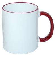 Кружка для сублимации белая с бордовым краем и бордовой ручкой 11oz (12 шт.)