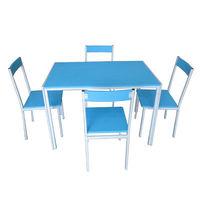 Set masă cu 4 scaune din metal și MDF, 1100x700x760 mm, albastru