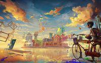 Картина напечатанная на холсте - Абстрактный город 0020 / Печать на холсте