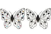 Бабочка декоративная металлическая с камнями 34X29cm