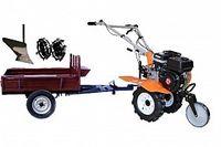 Набор мотоблок TECHNOWORKER HB 700N +Прицеп RK500 + плуг простой + металлические колеса 4*8