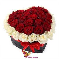 купить Голландские розы в коробке в форме сердца - 35 штук в Кишинёве