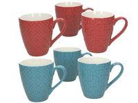 Чашка рельефная Kubik 420ml, красная, голубая