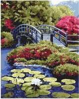 Pictura pe numere 40x50 Un pod pe un lac liniștit VA0031