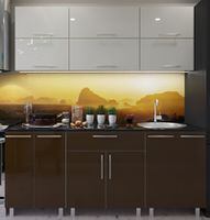 Кухонный гарнитур Bafimob Modern (High Gloss) 1.8m no glass Beige/Brown