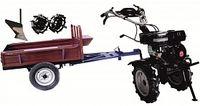 Set motocultivator TECHNOWORKER HB 700RS ECO+Remorca RK500 + plug simplu + roti metalice 4*8