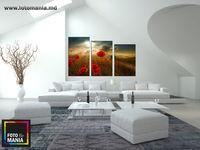 Картина напечатанная на холсте - Триптих Цветы 0005