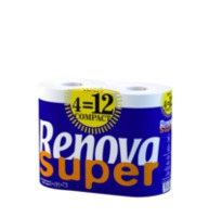 "RENOVA Туалетная бумага ""Super Compact"" белая (4) 8016681"