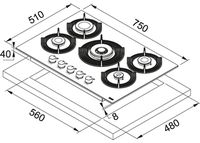 Газовая панель Franke FHMF 755 4G DC C LG