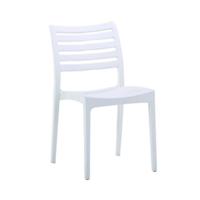 Scaun din plastic cu spate şi şezut grilă orizontală, alb