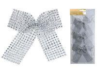 Банты декоративные 3шт 12.5сm, серебряные с блетсками