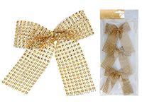 Банты декоративные 3шт 12.5сm, золотые с блетсками