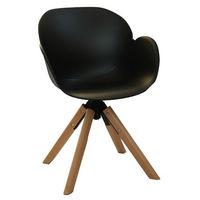 Пластиковый стул, деревянные ножки с хромированной стальной опорой 600x580x840 мм, черный