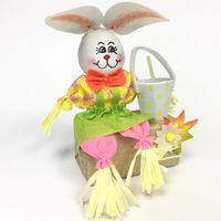 Заяц с соломенной коробкой S4-6, 30 см