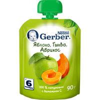 Gerber пюре яблоко, тыква и абрикос 6+ мес., 90 г