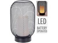 Lampa de masa cu luminare LED, H25cm, D15cm, neagra, pe baterii,3AA