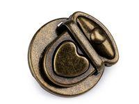 Închizătoare geantă, model Inimă / alamă antică