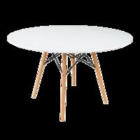купить Круглый стол из МДФ и деревянными ножками 1000x1080 мм, белый в Кишинёве