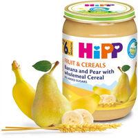 Hipp пюре банан, груша и зерновые хлопья, 6+мес. 190г