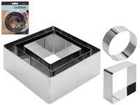 Forme culinare Cucina 3buc, patrat/cerc, metal