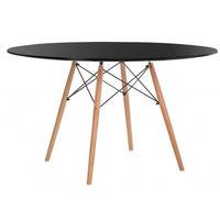 Masă din MDF şi picioare din lemn cu suport din oţel 1000x1000x710 mm, negru